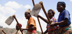 Photo of women in Sub-Saharan Africa holding tools and as agricultural laborers.