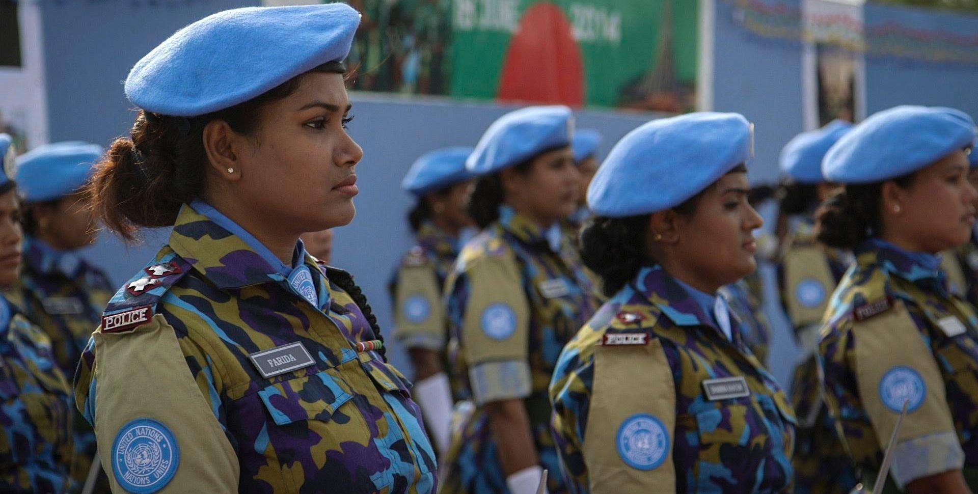 Women peacekeepers in uniform