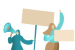 Graphic of women protesting and holding bull horn