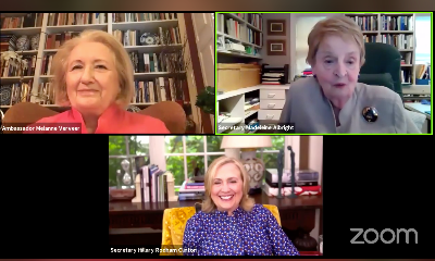 Screenshot from a virtual event picturing Melanne Verveer, Madeleine Albright, and Hillary Clinton speaking about the Beijing Conference and Platform for Action.