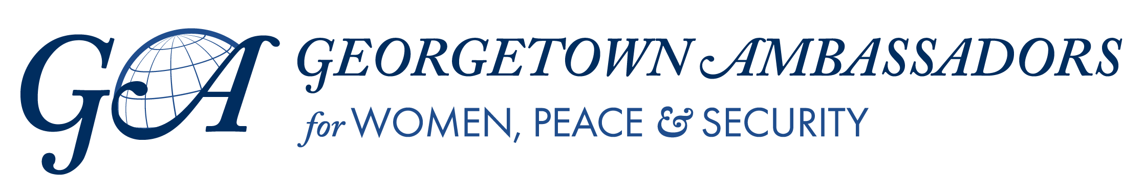 """A logo with the words """"Georgetown Ambassadors for Women, Peace and Security"""""""