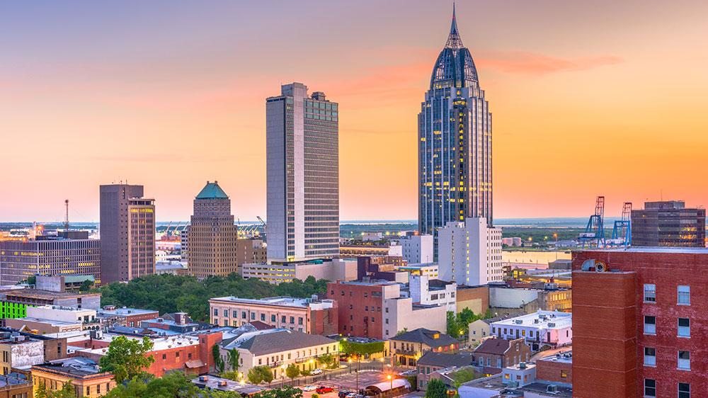 Mobile, Alabama, USA downtown skyline at dusk