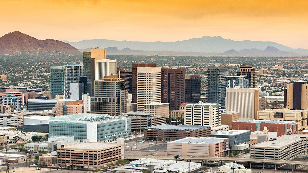 Phoenix, Arizona skyline at dusk