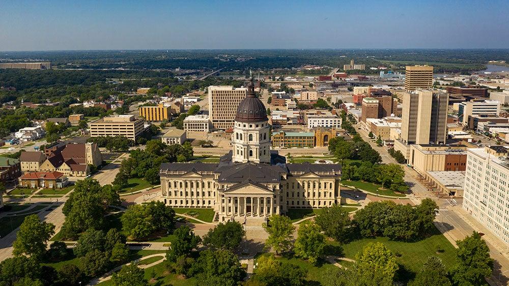 Topeka, Kansas aerial view of downtown