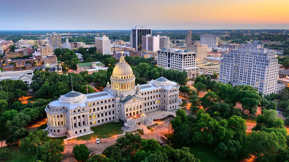 Jackson, Mississippi downtown aerial shot