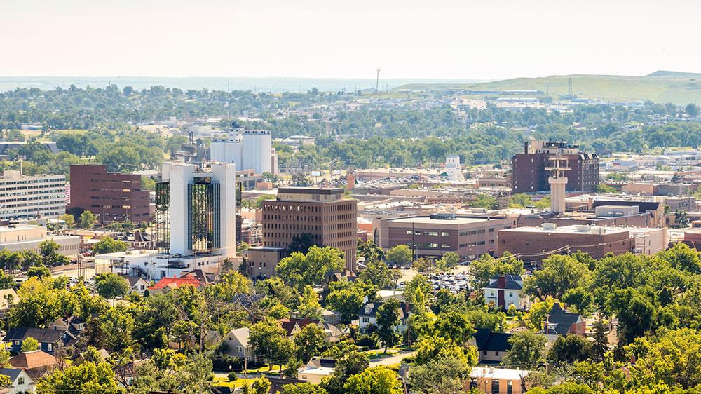 Rapid City, South Dakota aerial shot