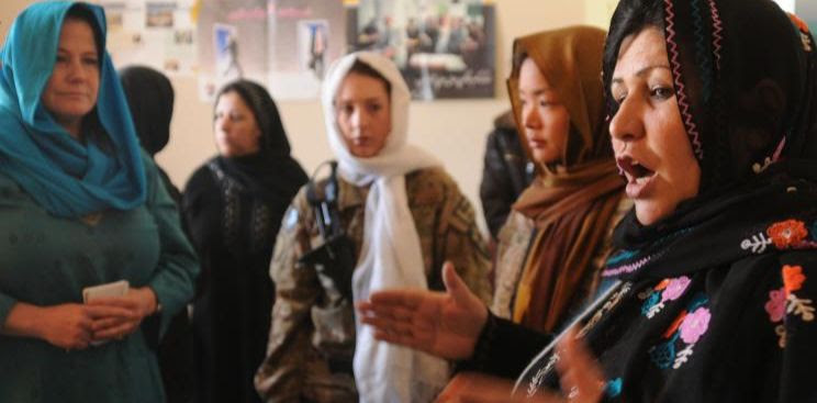 Image of a group of Afghan women speaking