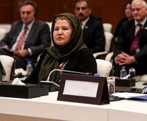 The image showing three Afghan women seated on a panel at a formal gathering of representatives serves as a backdrop for the title of the blog post.