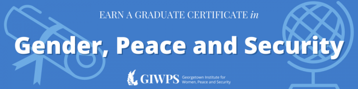 A decorative banner showing the Institute's logo that advertises the Gender, Peace and Security certificate