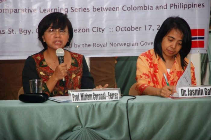 A photo of Miriam Coronel-Ferrer, Chairperson of the Philippines' Government peace panel for negotiations with the Moro Islamic Liberation Front, shows the image of a person mentioned in this section of the article.