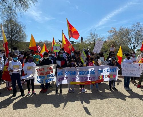 An image of a group of people marching in Washington DC. illustrates the topic of the post on this webpage. The image shows Tigrayan kids holding a protest amplifying the atrocities happening to kids in Tigray, as well as their grandparents, cousins, and more widely, the people of Tigray.