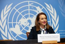 H.E. María Fernanda Espinosa, President of the UN General Assembly, speaks during a press conference about making the UN relevant for all and strengthening multilateralism, Geneva, Switzerland, October 23, 2018.