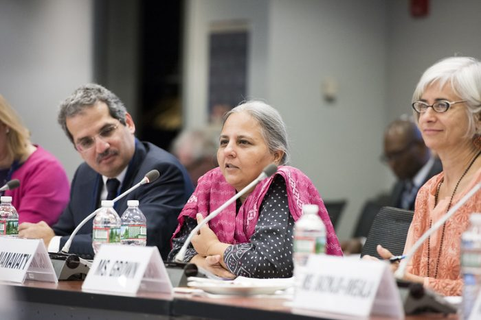 This photograph shows Reema Nanavaty, one of the co-authors of the article on this page, speaking on a panel at the World Bank's Advisory Council on Gender and Development