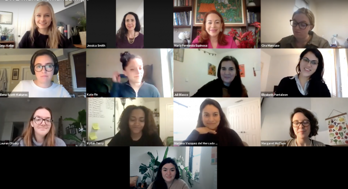 This is a screenshot of the virtual event showing the students who were in attendance via Zoom.