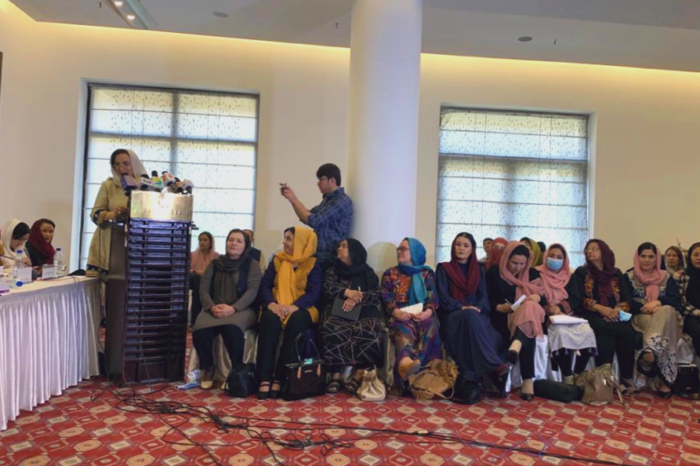 This photograph is included in the article to show a visual image from the all-women's press conference in Kabul described in this article.