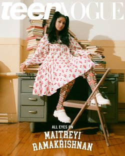 A decorative image of Maitreyi Ramakrishnan on the cover of the Magazine Teen Vogue shows how she is increasing the visibility of South Asian women in popular media.