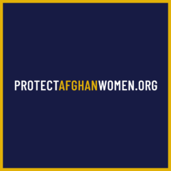 A copy of a social media graphic with the link to the Save Afghan Women campaign website is included to draw visual attention to the URL and attract donations.