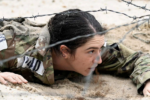 A decorative image of a woman in a military uniform performing a drill is included to illustrate the theme of women's inclusion in the military which is the focus of the event described on this page.