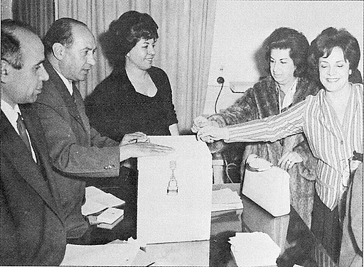 A decorative photograph shows women casting votes in Iran for the first time in 1963. It is included to show the striking visual contrast between women's rights in Iran before the Iranian Revolution and women's rights today.