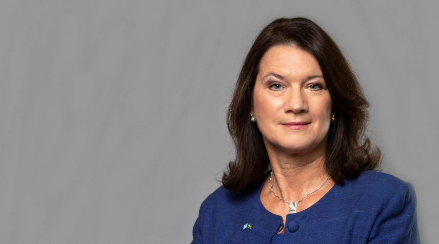 A decorative image of Swedish Foreign Minister Ann Linde is included on a page about an event at which she will speak in order to give the audience an idea of what she looks like.